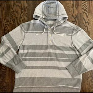 AMERICAN EAGLE Mens Gray Stripe 1/4 Button Hoodie